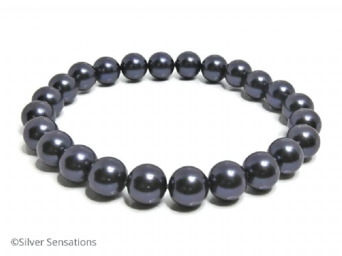 Indigo Purple Shell Pearls Stretchy Bracelet